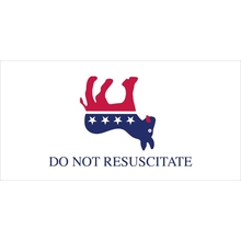 "Democrat - Do Not Resuscitate - Red White & Blue 7.5"" X 3.75"" Sticker"